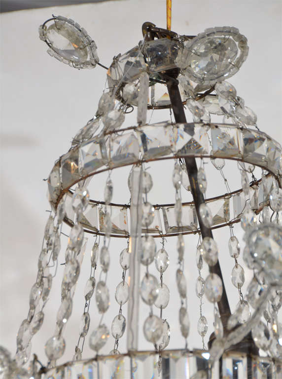 20th Century Neoclassical Cut Glass Chandelier For Sale