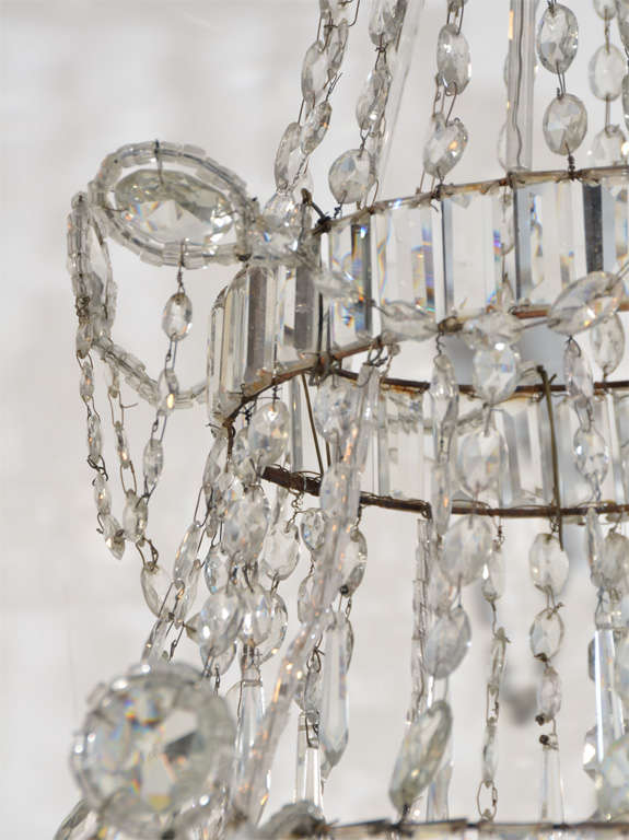 Neoclassical Cut Glass Chandelier For Sale 1