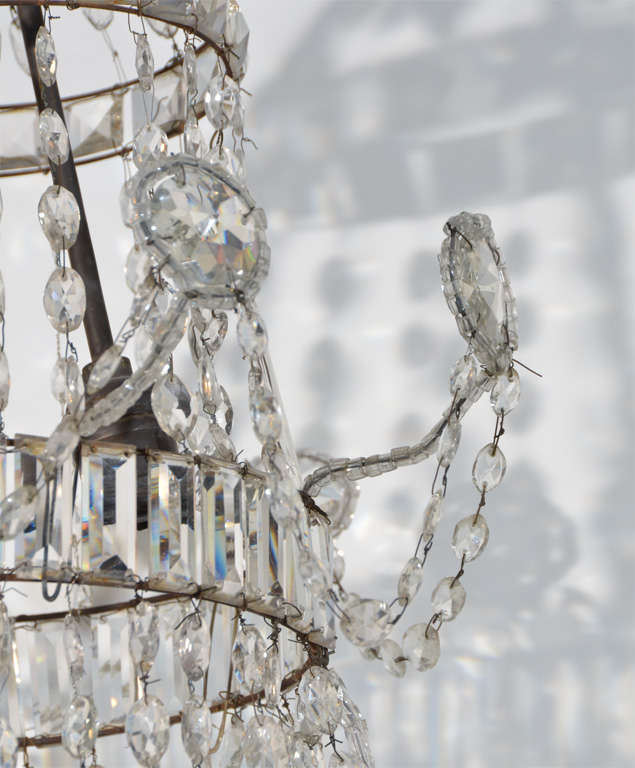 Neoclassical Cut Glass Chandelier For Sale 2