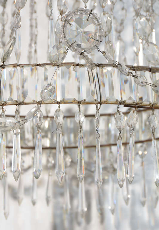 Neoclassical Cut Glass Chandelier For Sale 4