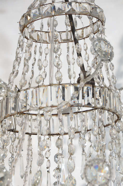 Neoclassical Cut Glass Chandelier For Sale 5