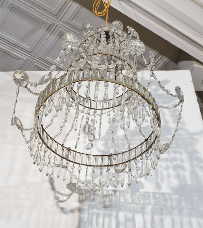 Neoclassical Cut Glass Chandelier For Sale 6