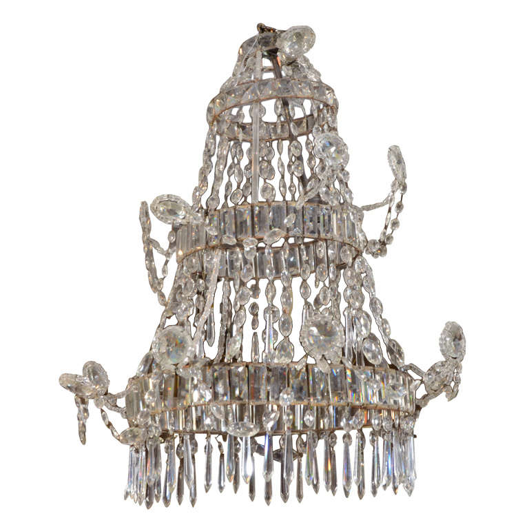 Neoclassical Cut Glass Chandelier For Sale