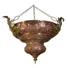 Renaissance Revival Copper and Brass Pendant Light