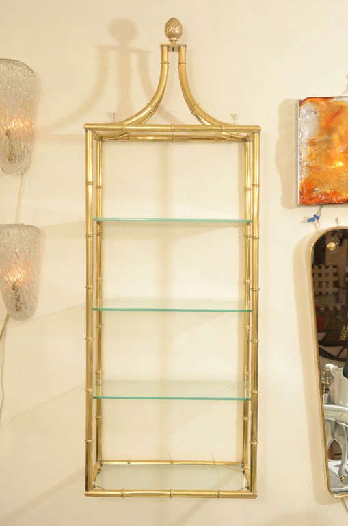 Brass faux bamboo four tier wall mounted shelving at 1stdibs