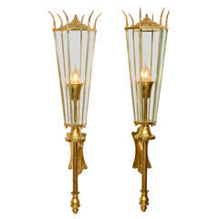 Pair of lantern form brass and glass sconces
