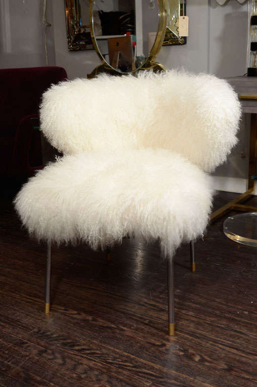 Exceptionnel Custom Mongolian Lamb Chair With Polished Nickel Legs.