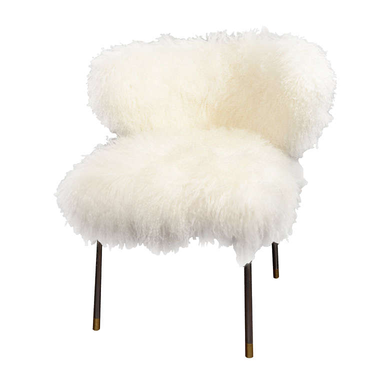 Custom Mongolian Lamb Chair At 1stdibs