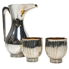 Bvlgari Sterling Silver Water Pitcher and Two Cup Set