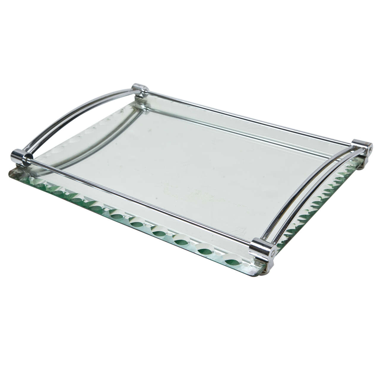 C1940 39 s french deckled edge mirrored vanity tray at 1stdibs for Mirrored bathroom tray