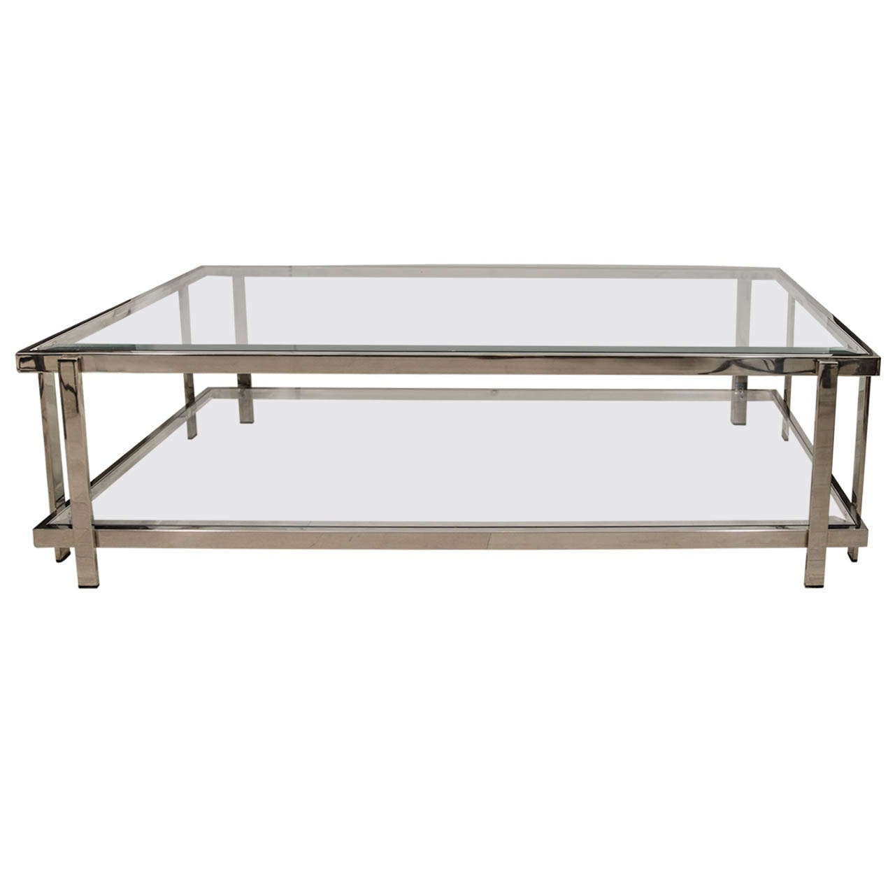 French two tiered nickel and glass coffee table at 1stdibs for French glass coffee table