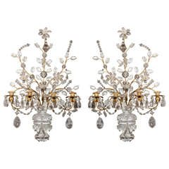 Pair of Louis XVI Style Bronze and Rock Crystal Sconces in the Style of Bagues