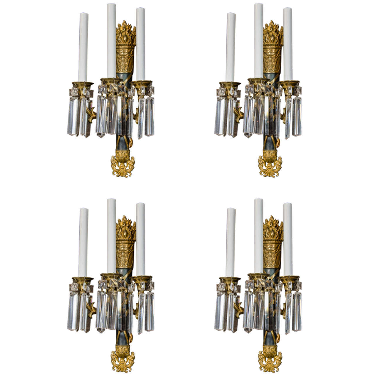 A Pair of Antique French Louis XVI Style Bronze and Crystal Wall Sconces