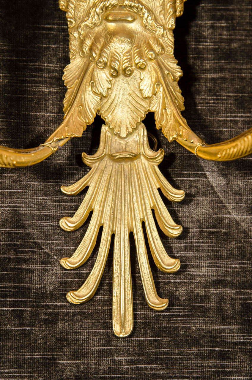 Set of Eight French Empire Style Gilt Bronze Figural Neoclassical Wall Sconces For Sale 1