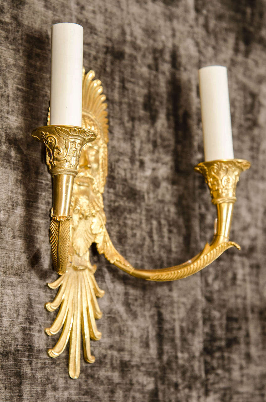Set of Eight French Empire Style Gilt Bronze Figural Neoclassical Wall Sconces For Sale 3