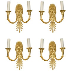 Set of Eight French Empire Style Gilt Bronze Figural Neoclassical Wall Sconces