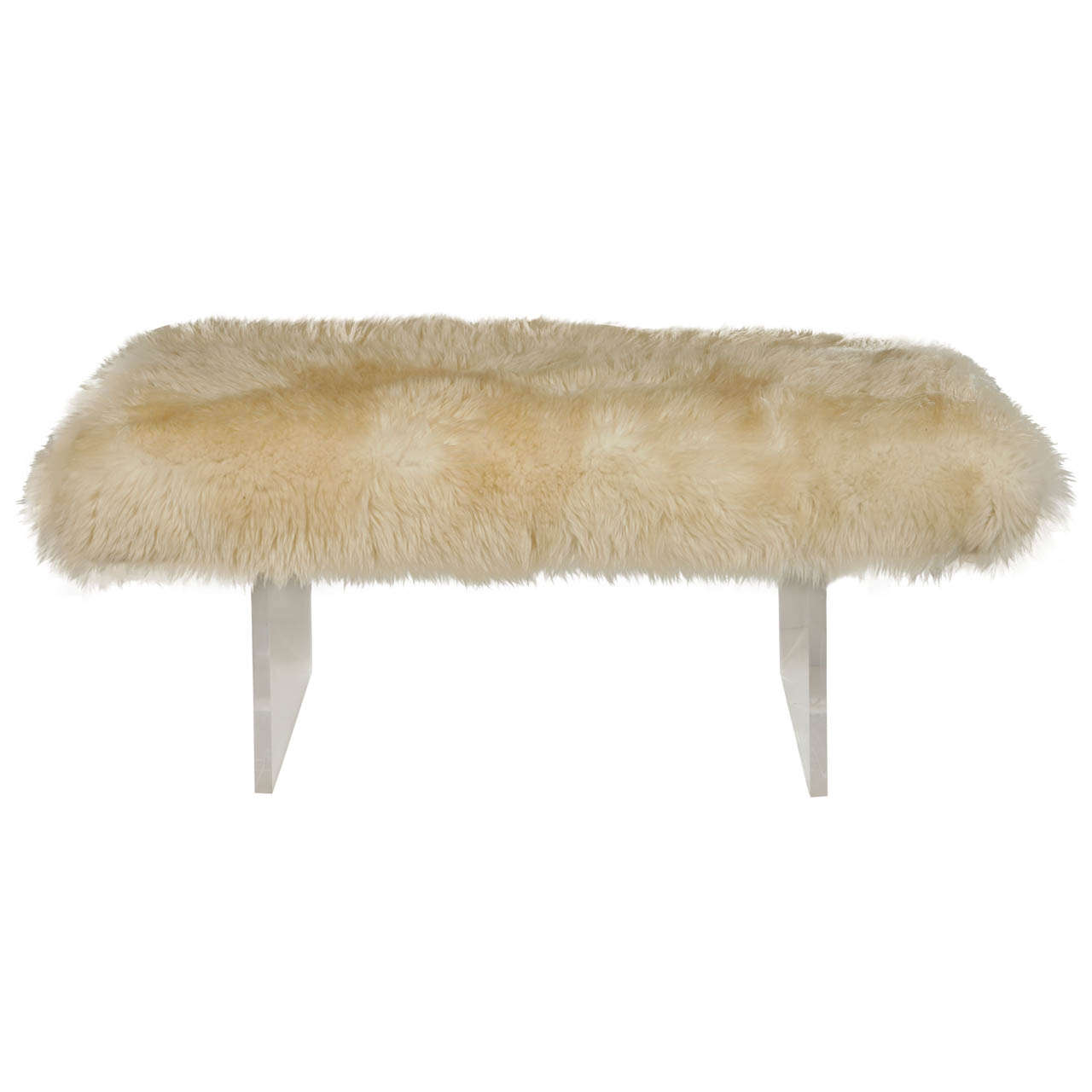 Sheepskin And Lucite Bench At 1stdibs