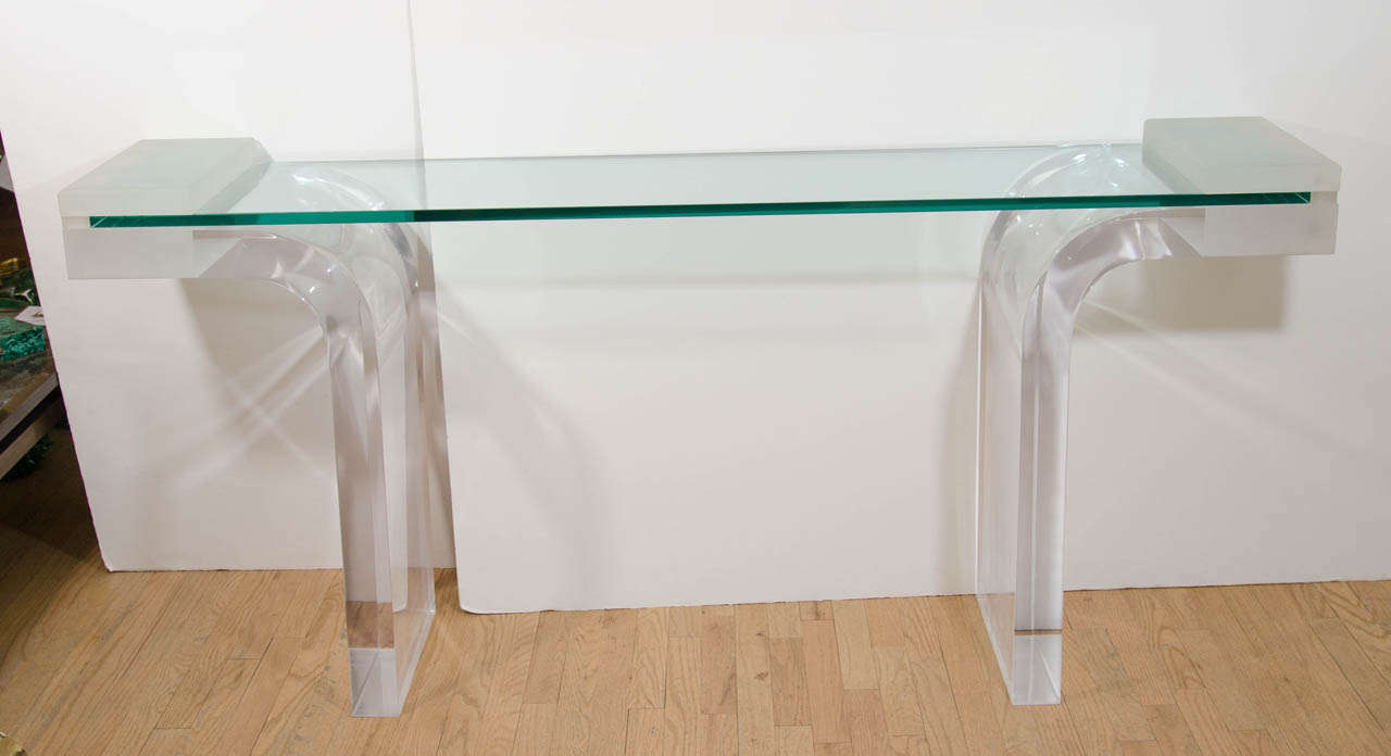 lucite console table with inverted waterfall base at 1stdibs. Black Bedroom Furniture Sets. Home Design Ideas