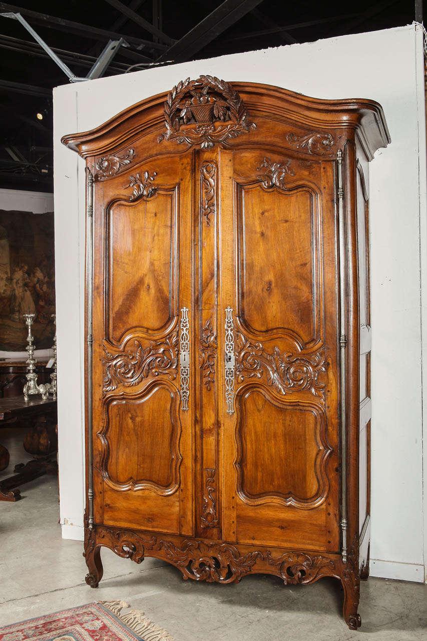 th century walnut wood armoire nimes france  louis xv signed  - th century walnut wood armoire nimes france  louis xv signed ig