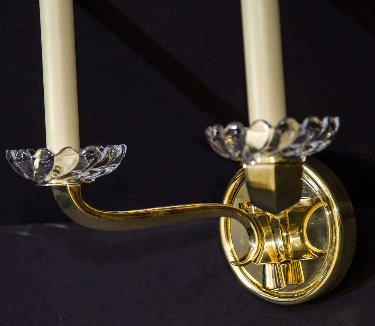 Art Deco Brass Wall Sconces : Two Polished Brass Art Deco Light Sconces at 1stdibs