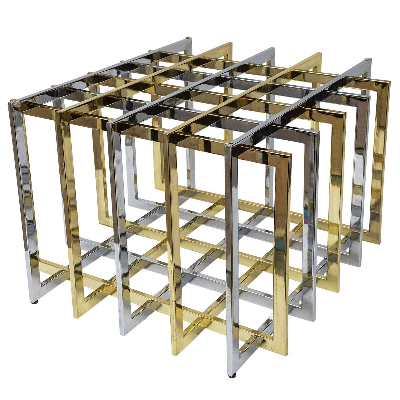 Pierre cardin 39 grid puzzle sculptural mixed metal cocktail for Table grid design