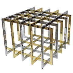 Pierre Cardin 'Grid Puzzle Sculptural Mixed Metal Cocktail/Side Table Base