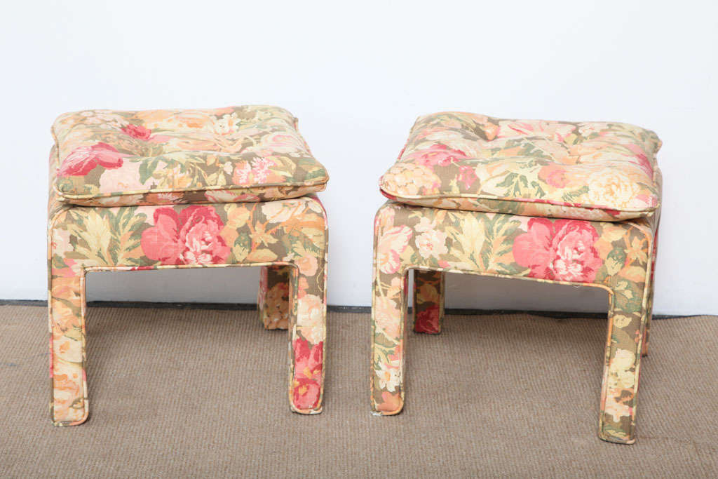 American Pair of beautiful Square Ottomans For Sale