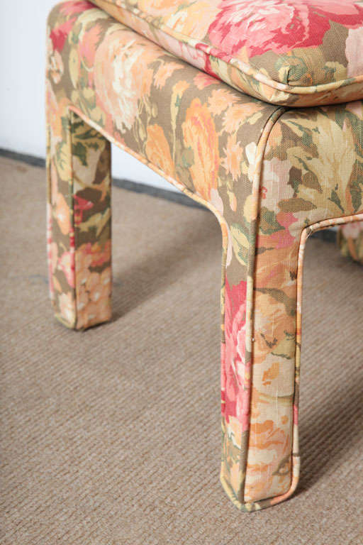Fabric Pair of beautiful Square Ottomans For Sale