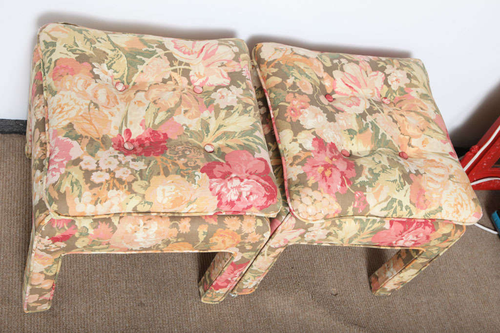 Pair of beautiful Square Ottomans For Sale 2
