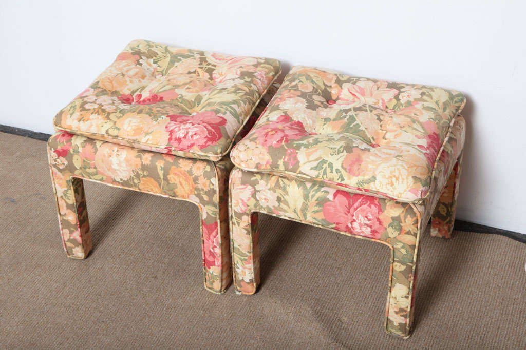 Pair of beautiful Square Ottomans For Sale 3