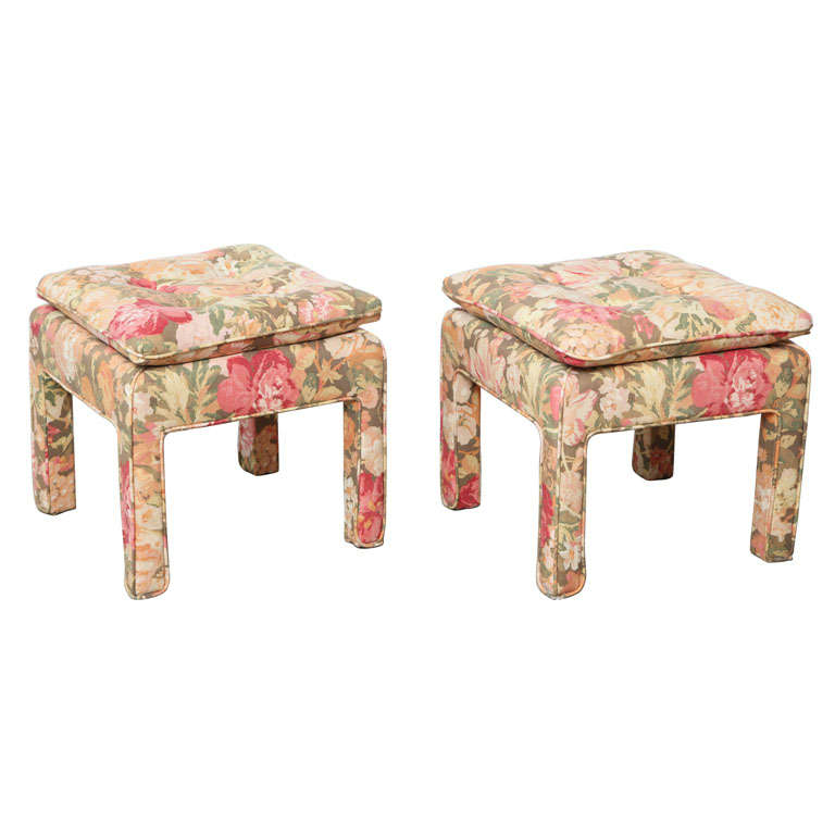 Pair of beautiful Square Ottomans For Sale