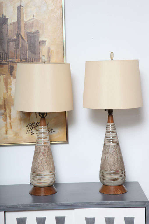 mid century danish modern ceramic and wood table lamps at 1stdibs. Black Bedroom Furniture Sets. Home Design Ideas