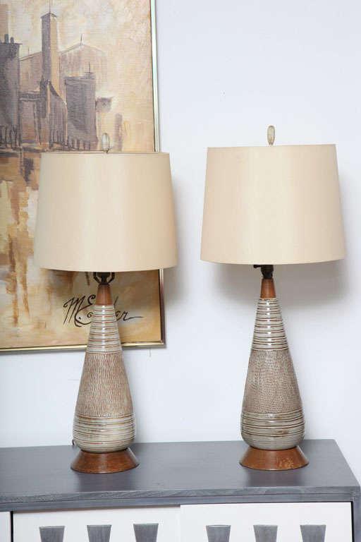 Modern Ceramic Table Lamps: Mid Century Danish Modern Ceramic and Wood Table Lamps. 2,Lighting