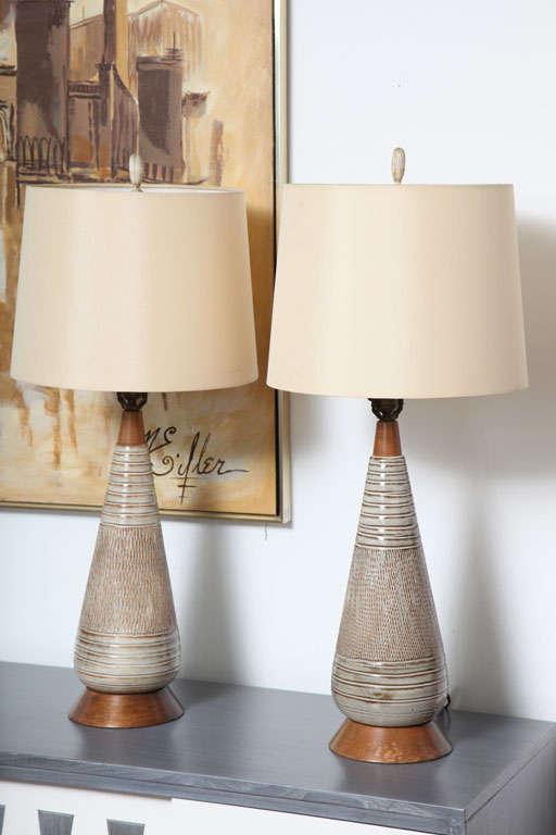 Modern Ceramic Table Lamps: Mid Century Danish Modern Ceramic and Wood Table Lamps. 3,Lighting