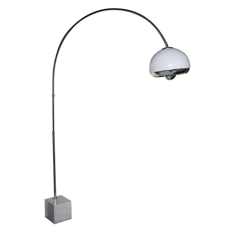 steel and marble arc floor lamp by guzzini laurel at 1stdibs. Black Bedroom Furniture Sets. Home Design Ideas