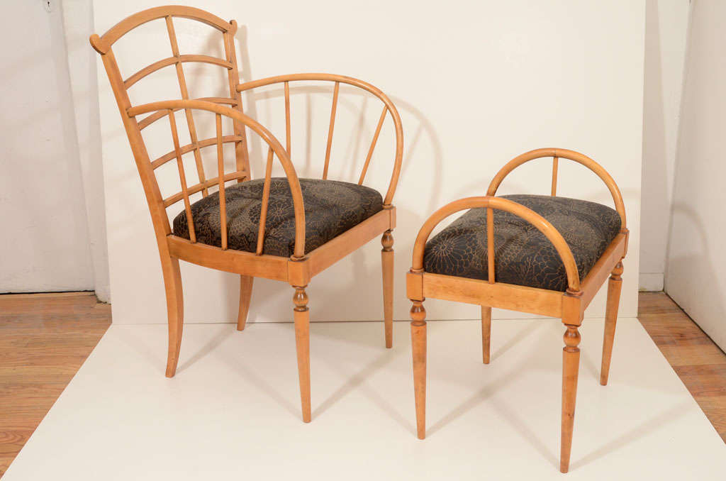Swedish Set of Eight Art Deco Dining Chairs For Sale