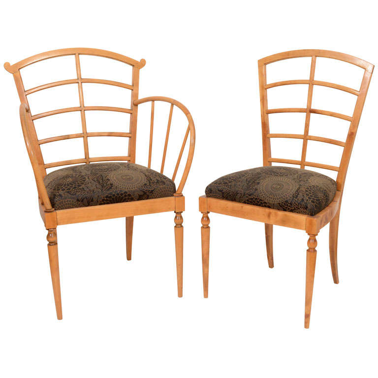 Set of Eight Art Deco Dining Chairs For Sale