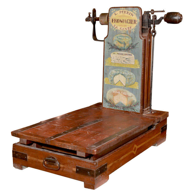 Polychromed Wood And Iron Antique Cheese Scale At 1stdibs
