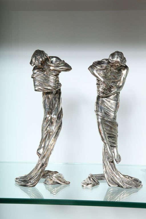 Art Nouveau Pair of Candlesticks by Gustav Gurschner For Sale