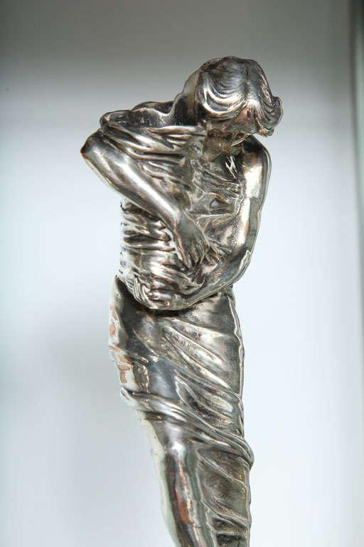 Silvered Pair of Candlesticks by Gustav Gurschner For Sale