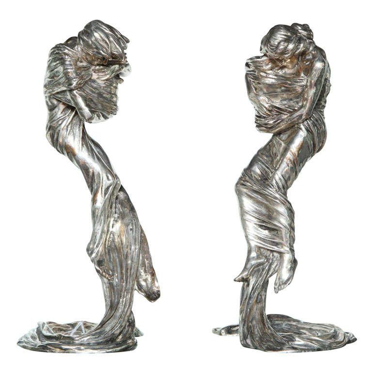 Pair of Candlesticks by Gustav Gurschner For Sale