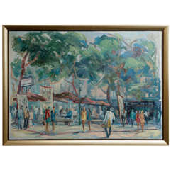 Painting of Spanish Summer Street Life, Spain, 1956