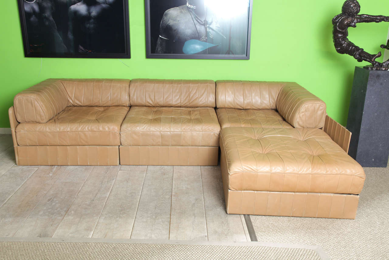 Leather cognac de sede comfortable living room set 39 70 39 s for Comfortable living room sets