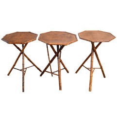 Three Cocktail Bamboo Side Tables