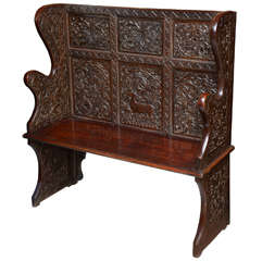 1900's Hall Carved French Bench