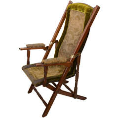 English Walnut Folding Campaign Chair