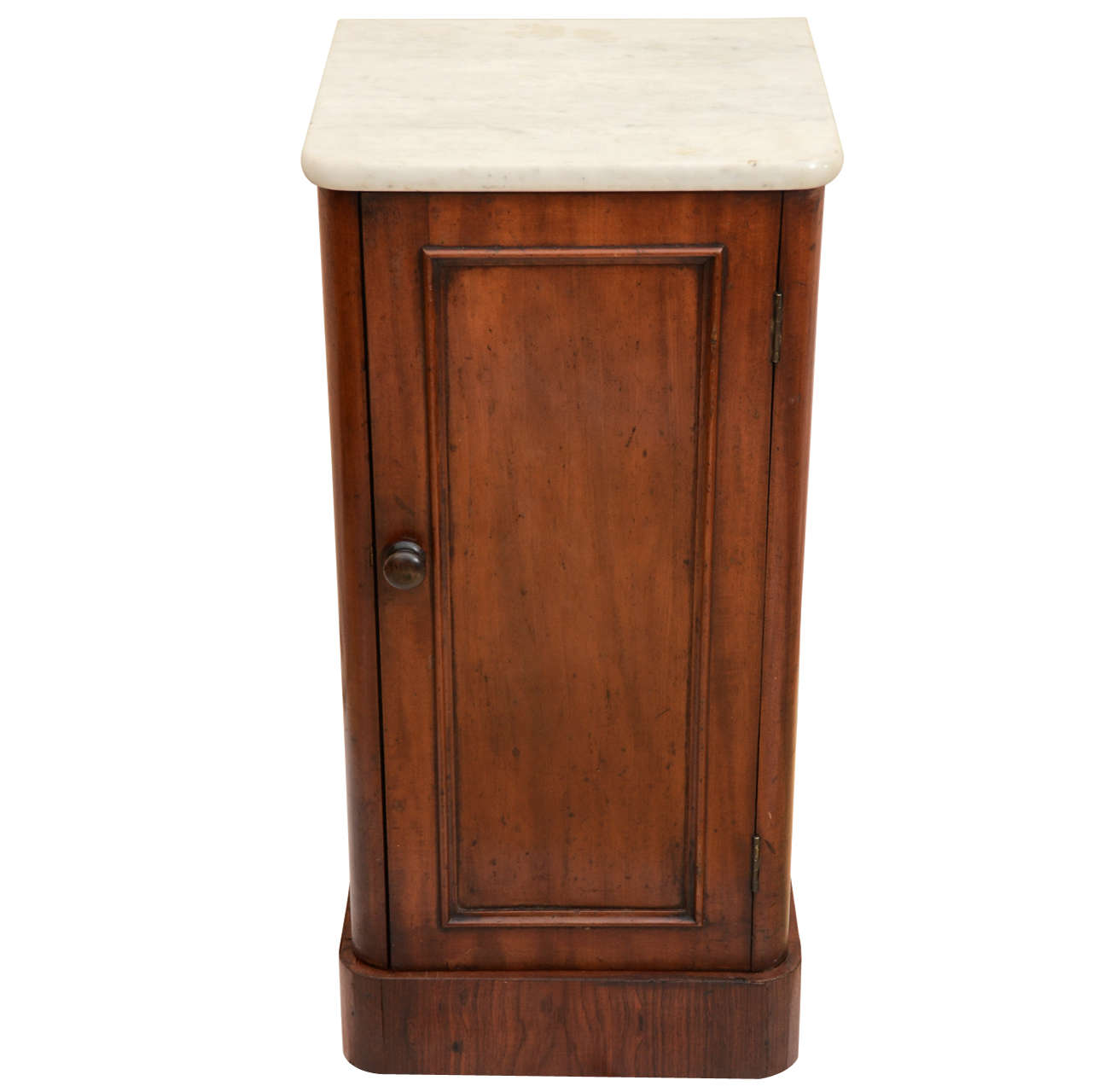 English Mahogany Marble Top Bedside Cabinet 1