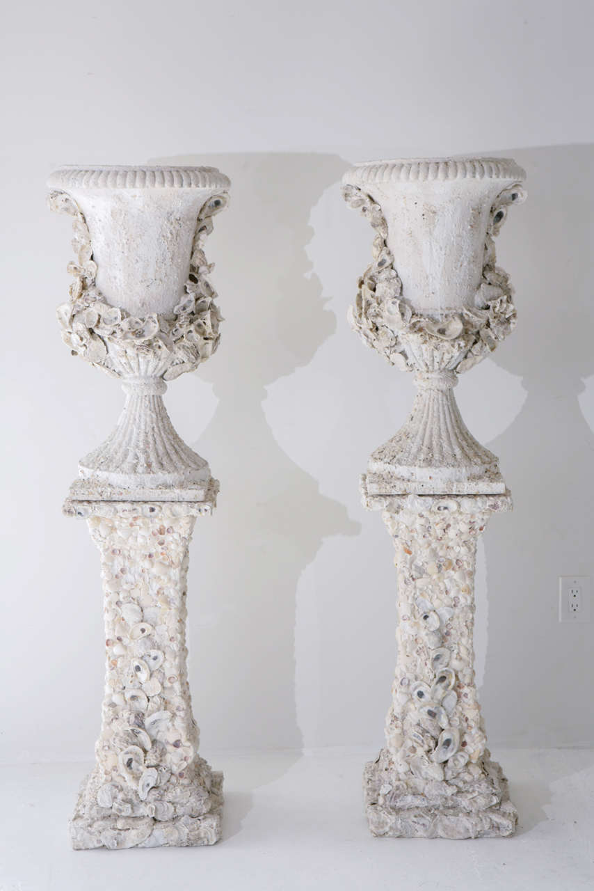 Grotto Style Shell Encrusted Urns on Pedestals 2