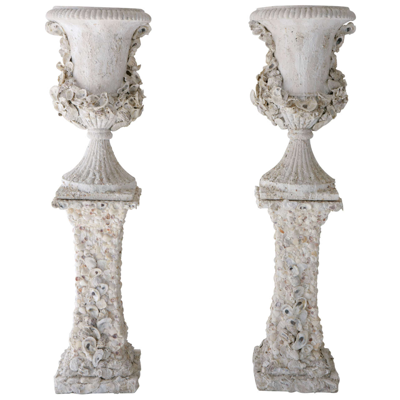 Grotto Style Shell Encrusted Urns on Pedestals 1