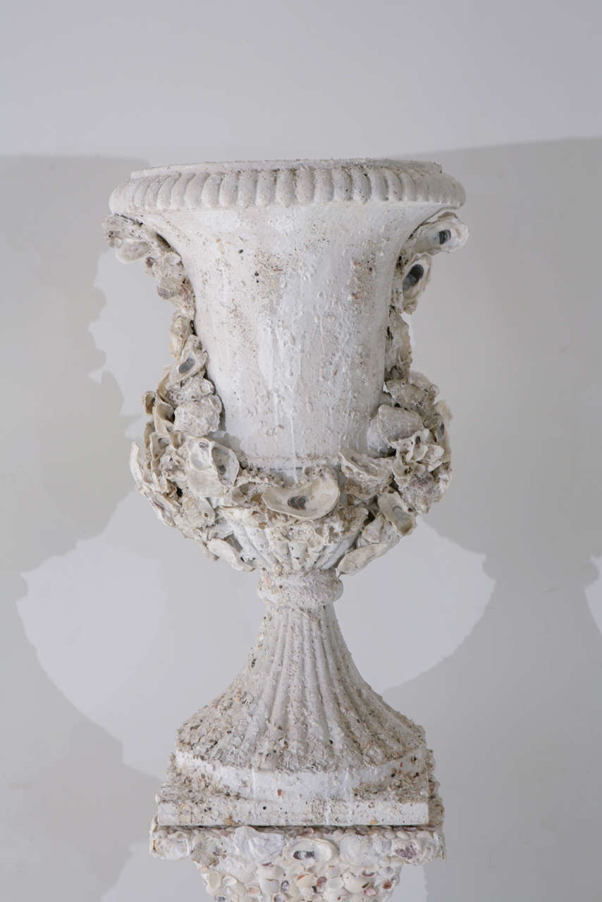 Grotto Style Shell Encrusted Urns on Pedestals 3